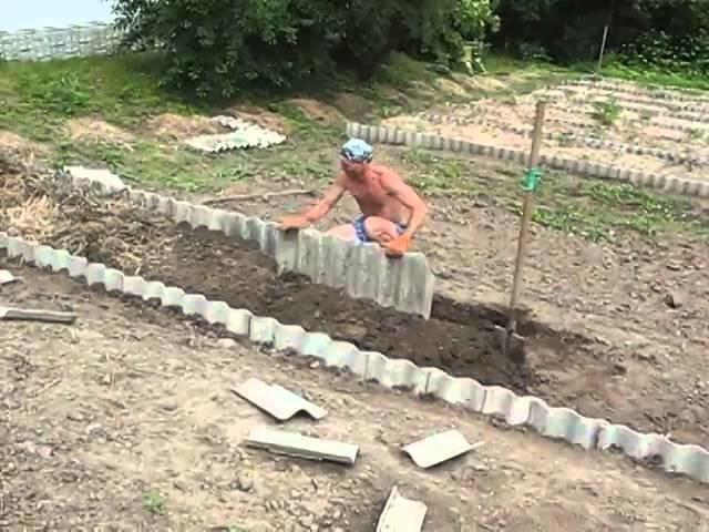 Плоский шифер для грядок: как огородить + фото красивого оформления