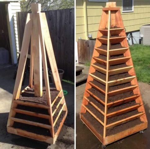 Грядка-пирамида для клубники своими руками: размеры, варианты дизайна + фото