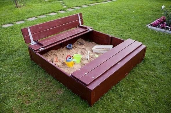 Детская песочница с крышкой для дачи: подробная инструкция   фото с чертежами