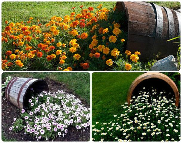 Как сделать клумбу из бочки: инструкция + восхитительные идеи цветников