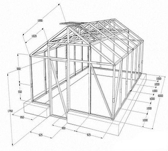 Теплицы из профильной трубы: изготовление, лучшие проекты +чертежи с размерами