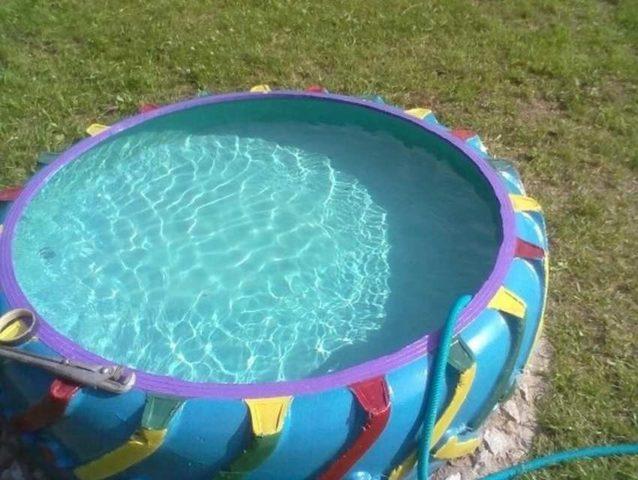Бассейн из покрышки своими руками: из К 700, пошаговая инструкция с фото и видео