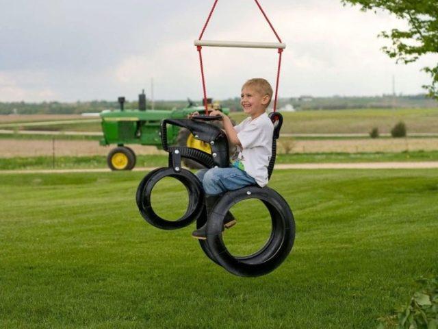 Качели из шин своими руками для детей: простая пошаговая инструкция + фото
