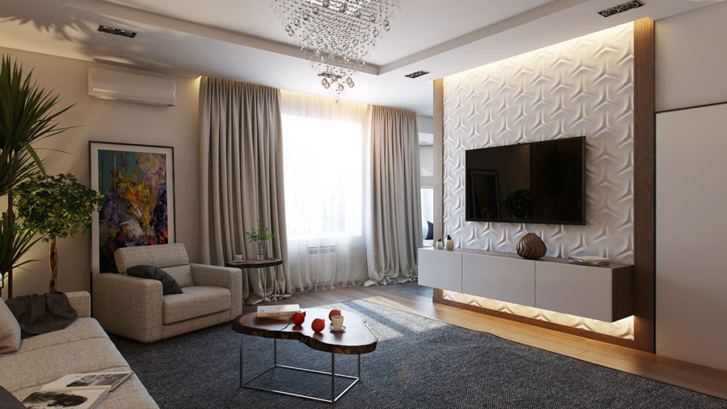 Особенности оформления стены с телевизором в гостиной