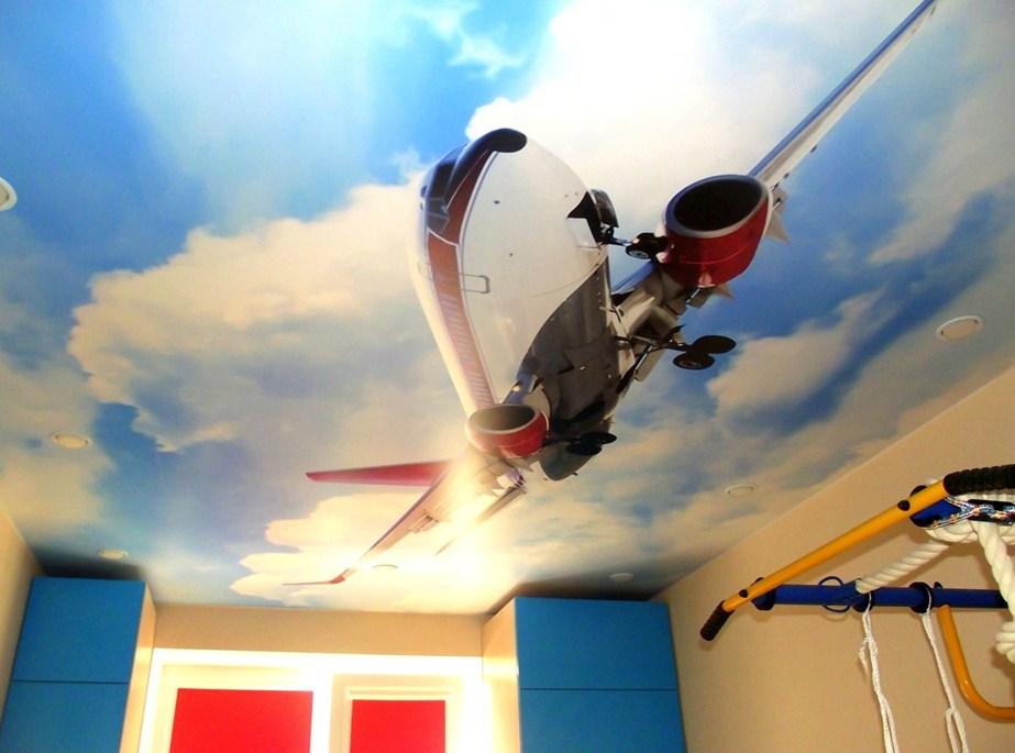 Оформление потолка в комнате подрастающего мальчика