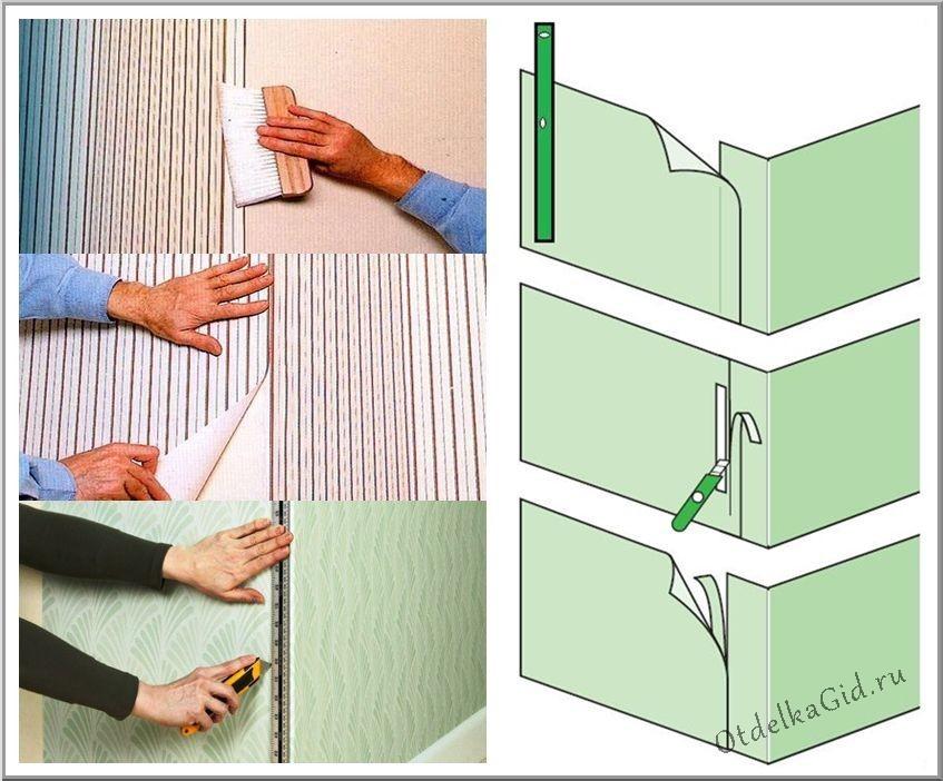 Способы поклейки обоев в неровных углах комнаты