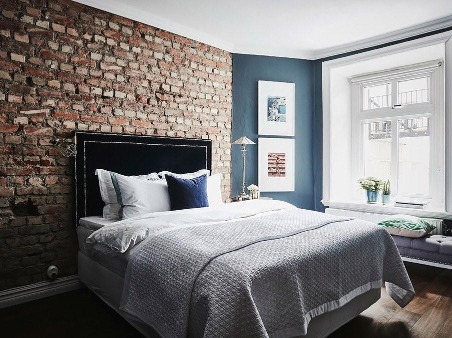 Кирпичная стена как элемент декора: особенности ее применения в спальне
