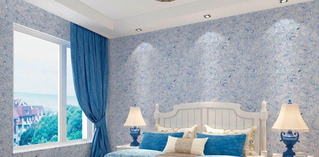 Как придать уникальность дизайну спальни при помощи жидких обоев