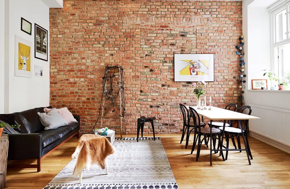 Кирпичные стены в гостиной: материал, стиль, использование