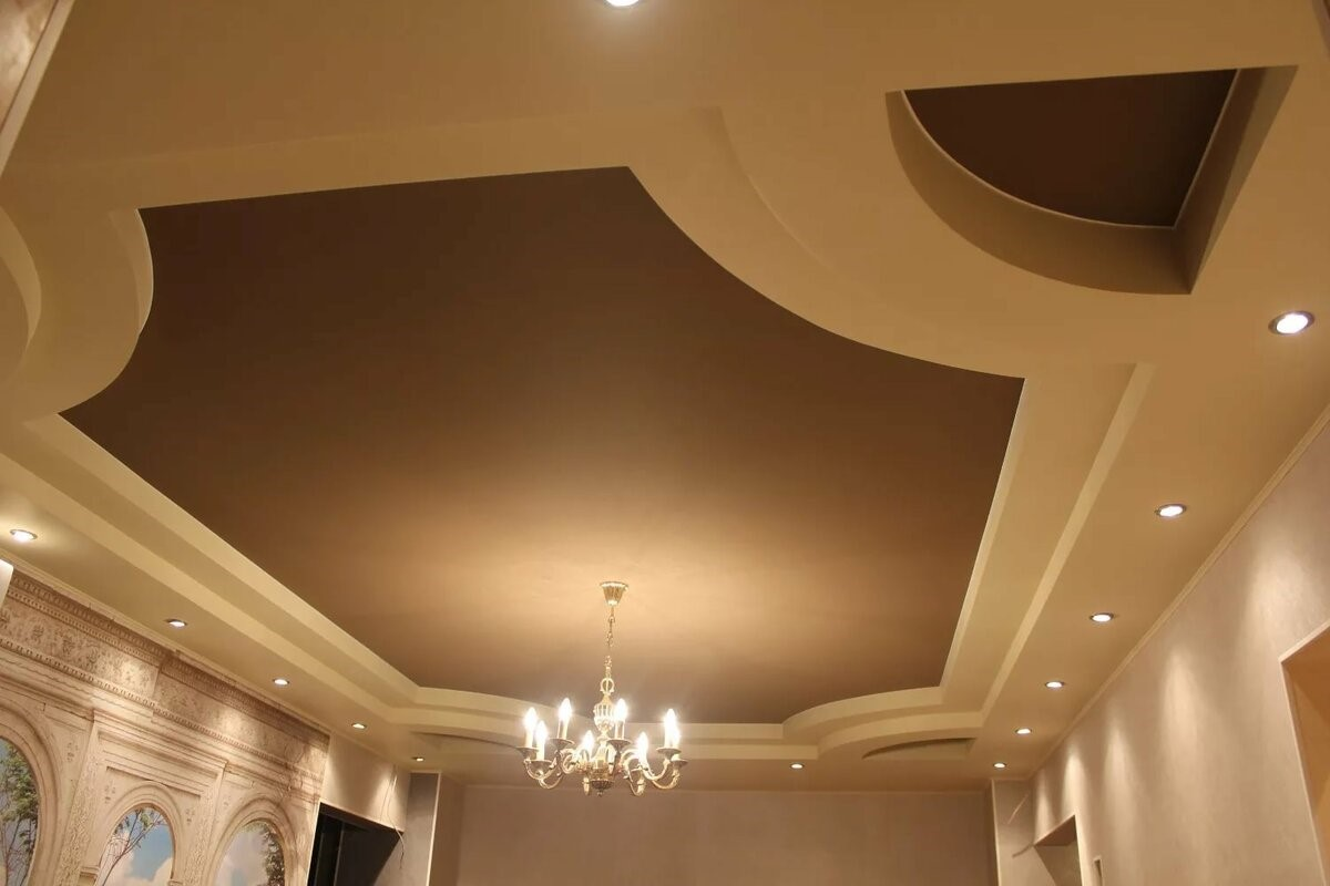 этого потолок из гипсокартона фото в зале двухуровневый знакомые смотрят, лица