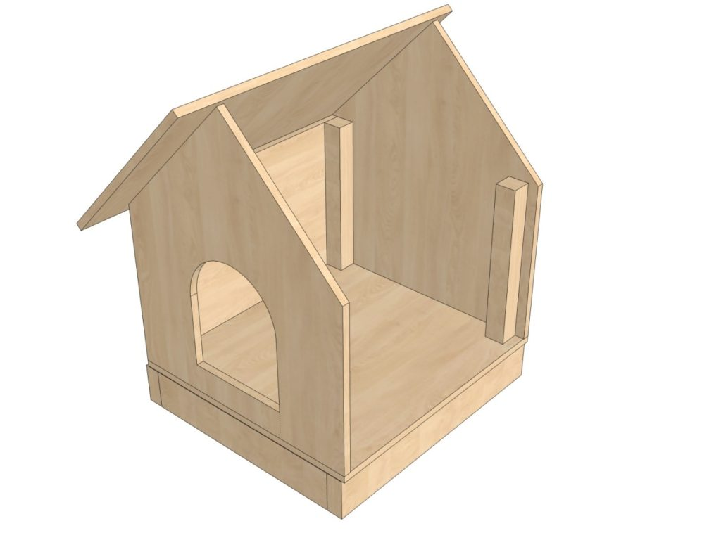 Сборка простой собачьей будки с надёжной двускатной крышей