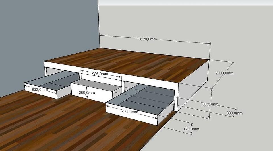 Как самостоятельно сделать подиум с выдвижной кроватью?