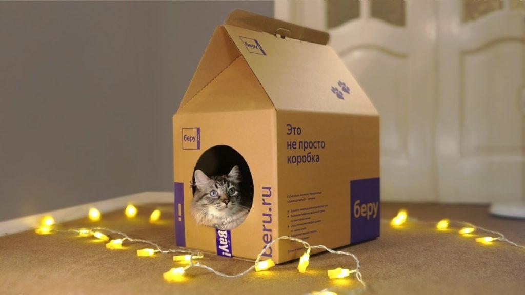 Домик для кошки из картонной коробки своими руками